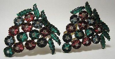 Vintage-Rhinestone-Flower-Dress-Clips-Brooch-RARE-Fruit-Salad-GLASS-Figural-1930