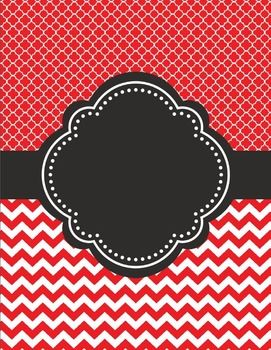 Moroccan and Chevron Binder Cover ~ Two Versions both Black and RedI love cute binder covers.  You can add a label to it or write on it.  Use a silver sharpie on black!  If you decide to download this free product, please take a moment to leave feedback.