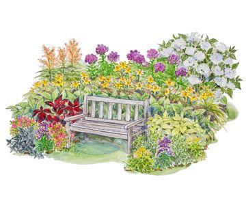 Shades gardens and perennial gardens on pinterest for Part shade garden designs