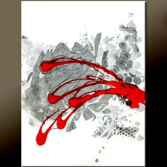 Diy canvas art with red canvas art painting 18x24 for Diy canvas art black and white