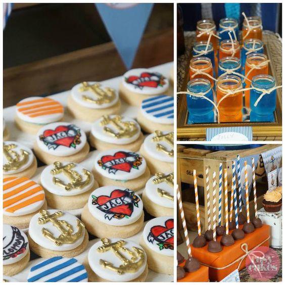 Rockabily Nautical themed birthday party via Kara's Party Ideas KarasPartyIdeas.com Cake, decor, cupcakes, supplies, and more! #rockabily #rockabilyparty #nauticalparty #nautical (5)