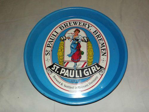 reminds me of my sister...VINTAGE ST PAULI GIRL BEER BREWERY BREMEN GERMANY METAL SERVING TRAY