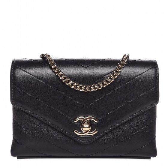 Chanel Calfskin Coco Chevron Waist Bag Black Bags Waist Bag Calf Skin
