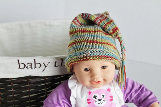 Knit Elf Hat Baby Hat  Green Multi by SnugableTouches on Etsy, $7.00