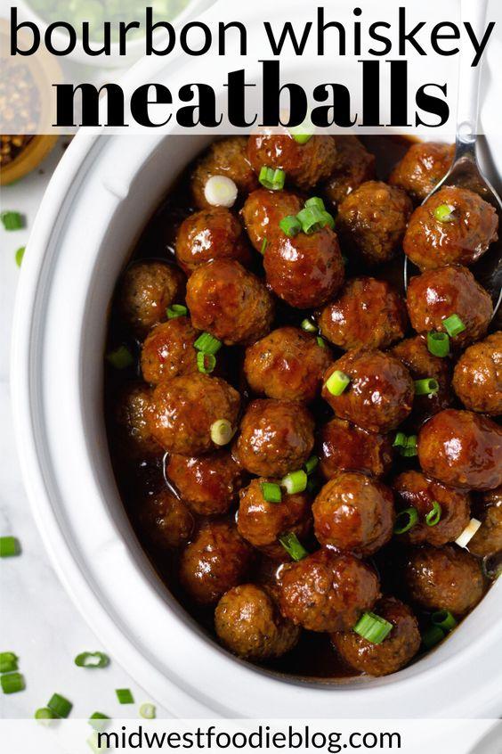 Slow Cooker Bourbon Whiskey BBQ Meatballs