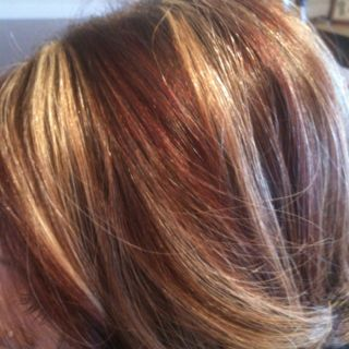 Chunky Red & Blonde hi lights!  @Christy Flohr color,I told u about