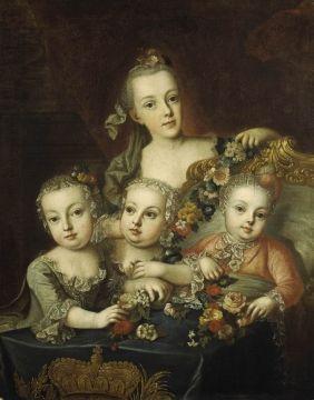 1760. Maria Josepha, Maria Carolina, Maria Antonia, and Maximilian.