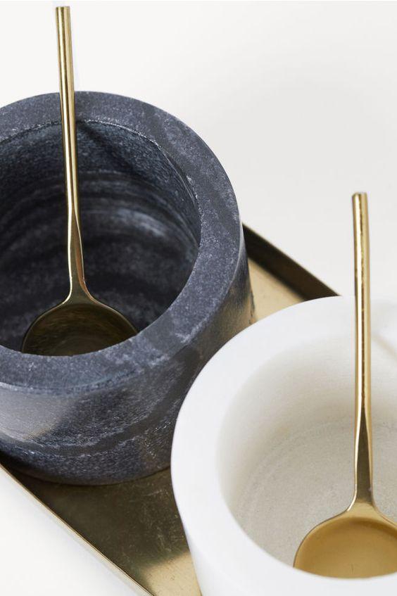 Stone Salt and Pepper Bowls - White/black - | H&M US 3