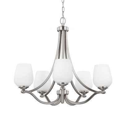 Vintner 5 Light Candle Chandelier Finish: Satin Nickel, Bulb Type: A19 Medium 75W - http://chandelierspot.com/vintner-5-light-candle-chandelier-finish-satin-nickel-bulb-type-a19-medium-75w-590612408/