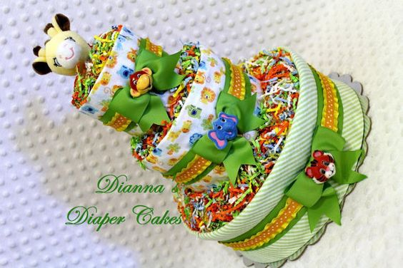 Baby Diaper Cake Zoo Animals Giraffe Shower by Diannasdiapercakes, $50.00