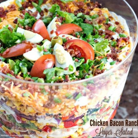 Chicken Bacon Ranch Layer Salad Layered Salad Recipes Delicious Salads