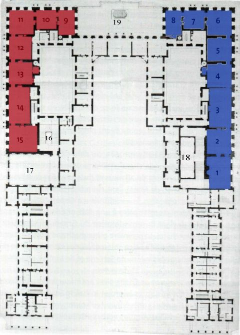 Fig.  1 Anonymous, First floor plan of Versailles, to 1673. Stockholm, Nationalmuseum, NMH THC 3 [colored map and numbered by the author].