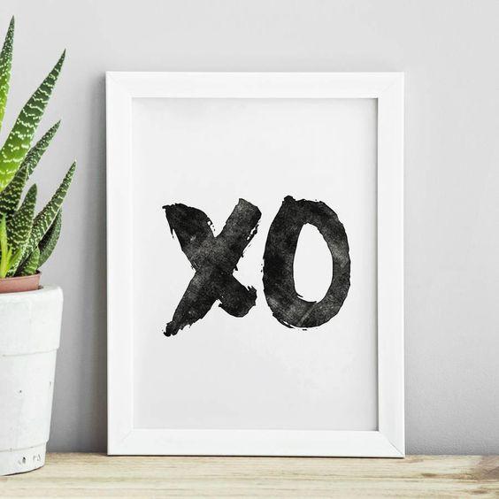 XO hugs and kisses http://www.amazon.com/dp/B016MS9A7M   inspirational quote word art print motivational poster black white motivationmonday minimalist shabby chic fashion inspo typographic wall decor