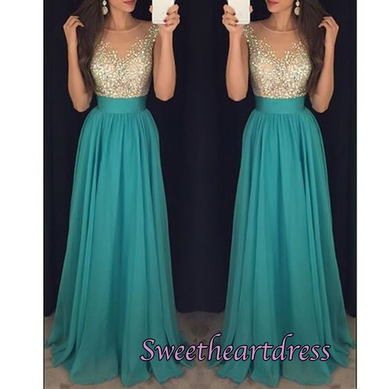 2016 beautiful gold sequins green chiffon long prom dress, ball gown, modest prom dress #coniefox #2016prom