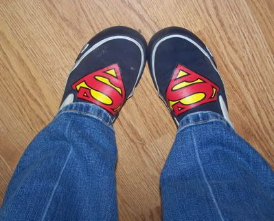 My Superman shoes. Reason #17 why it's good to have small feet. You can wear kid's shoes. ;)