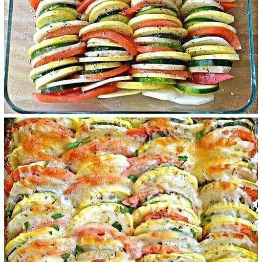 Easy!! Onion, tomato, zucchini, yellow squash, you can also use eggplant - Slice thin. After drizzling on olive oil, sprinkle on Italian seasoning, lemon pepper, sea salt, onion & garlic powder. Then mozzarella. Bake 375 approx 30 min, just depends on how firm you like your veggies.:
