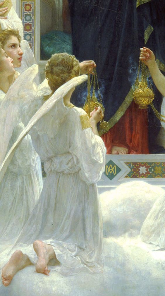 'The Virgin with Angels' detail, 1900, William Bouguereau beauty in the details, full image here: