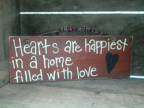 Hearts are happiest sign by thecountryshed on Etsy, $5.50