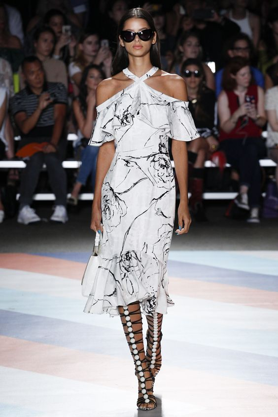 Christian Siriano | Spring 2017 RTW fashion collection | Off shoulder ruffled…
