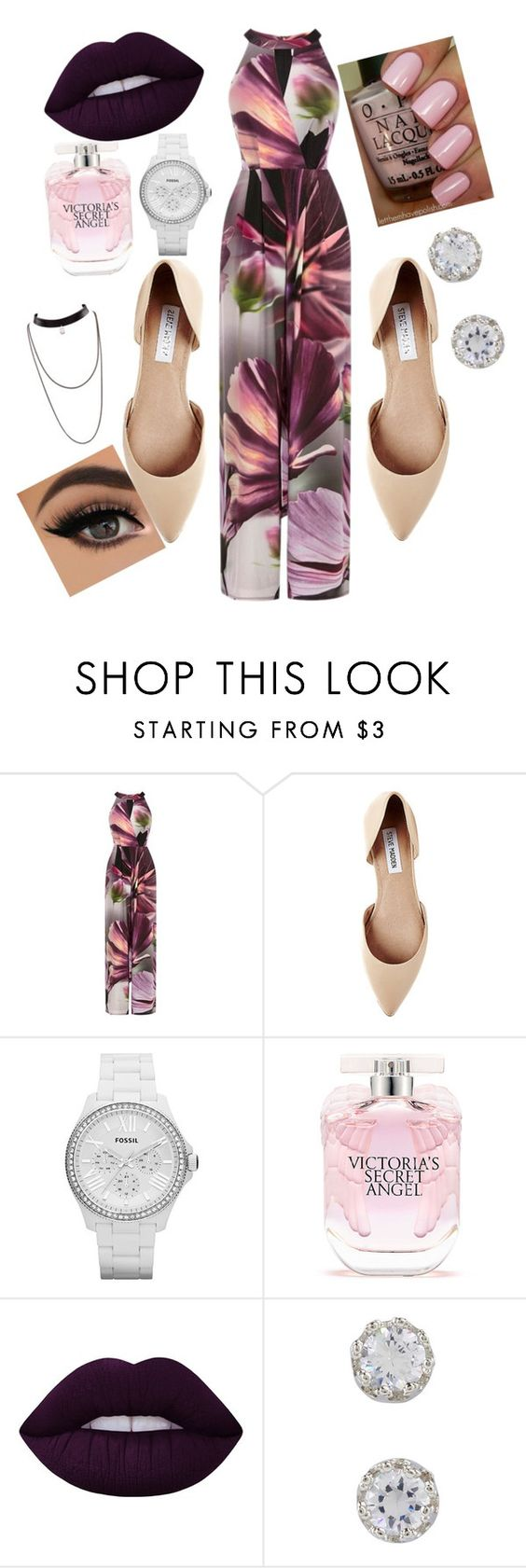 """""""real classy"""" by ahriast ❤ liked on Polyvore featuring Coast, Steve Madden, FOSSIL, Victoria's Secret, Lime Crime and sleevelessjumpsuits"""