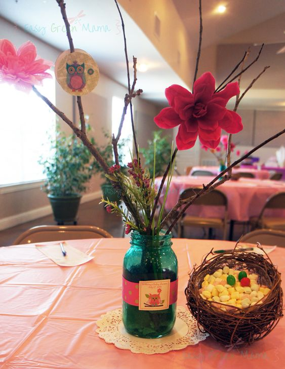 Owl themed baby shower diy centerpiece colored mason jar