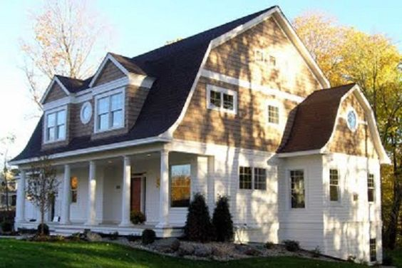 Gambrel roof line with porch no place like home for Dutch colonial house plans