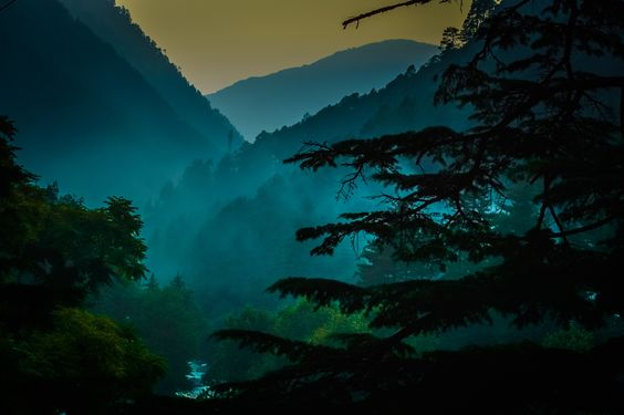 View of Misty mountains in Kasol