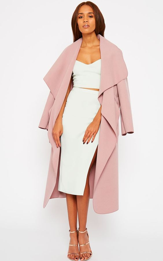 Pretty Little Thing - Veronica Dusty Pink Waterfall Coat £25