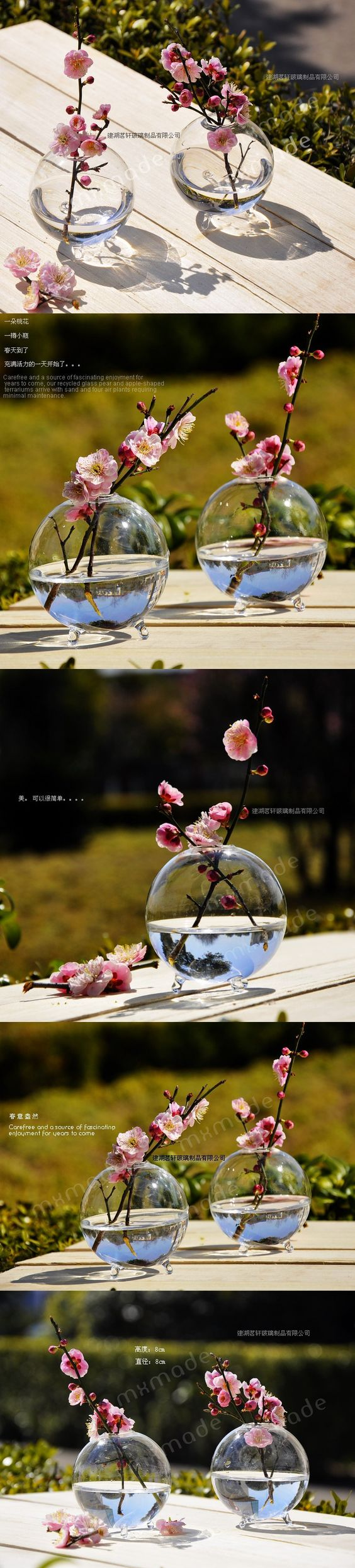 Circular Hydroponic Glass Vases  Flower Wedding Decoration Arranging Vessel Plant Vase With  Four Feet Home Office Decor