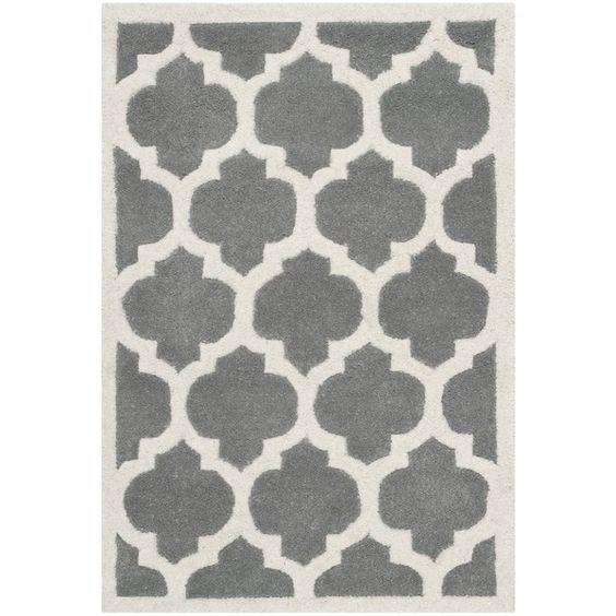 Safavieh Handmade Moroccan Chatham Geometric Dark Gray Wool Rug  3  39  x 5  39. Safavieh Handmade Moroccan Chatham Geometric Dark Gray Wool Rug  3