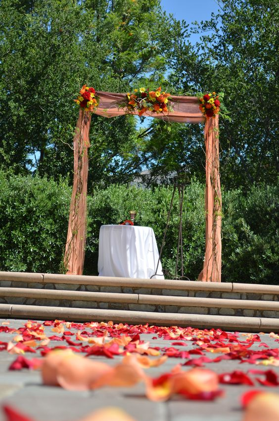 Chuppah decorated with curly willow branches and flowers