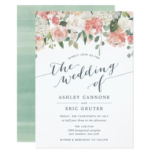 Midsummer Watercolor Floral Wedding Invitation Zazzle Com