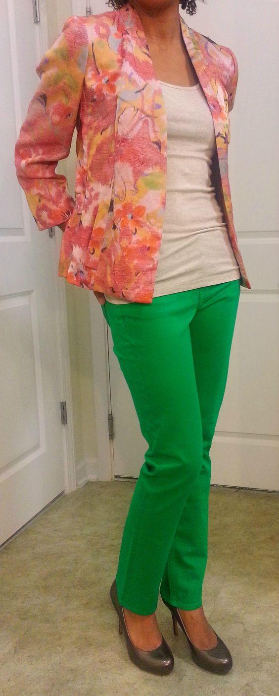 Green Denim + Floral  @J.Crew: Matchstick Jeans. @Banana Republic: Blazer. @Target: Oatmeal Tank.