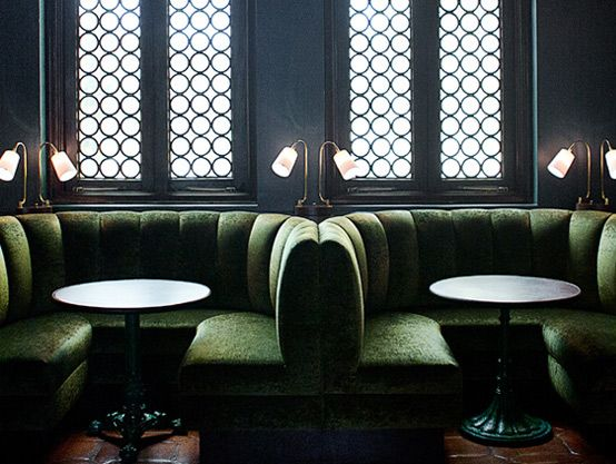 Green and back lit screens? moody Palihouse Hotel Santa Monica, L.A.'