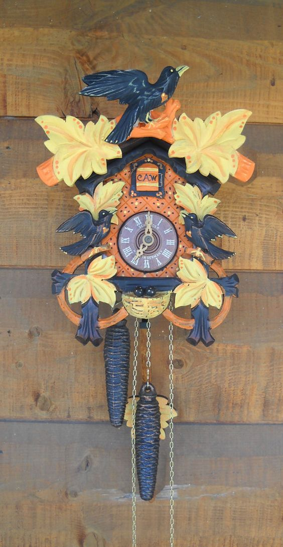 Black forest cuckoo clock hand painted raven by shabbyhagdecor my halloween addiction - Colorful cuckoo clock ...