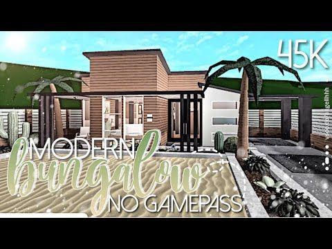 BLOXBURG No Gamepass Modern Bungalow 45K Mobile Speedbuild