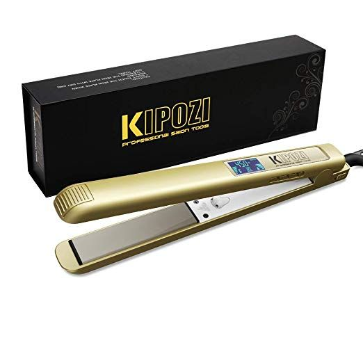 Kipozi 1 Inch Pro Nano Titanium Flat Iron 450f Salon High Heat Anti Frizz Lcd Hair Straightener D Hair Straightener Best Hair Straightener Anti Frizz Products