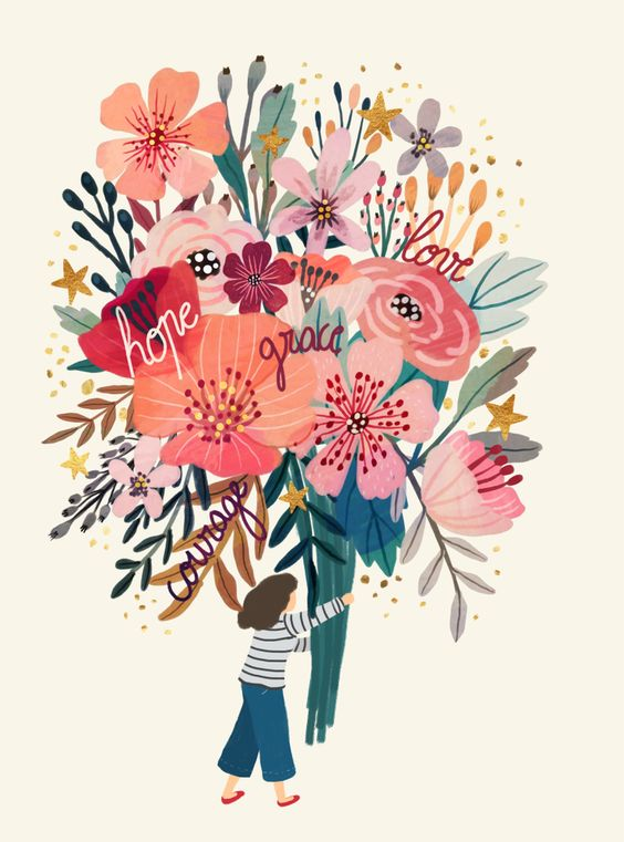"""Floral bouquet Mini Art Print by Mia Charro - Without Stand - 3"""" x 4"""""""