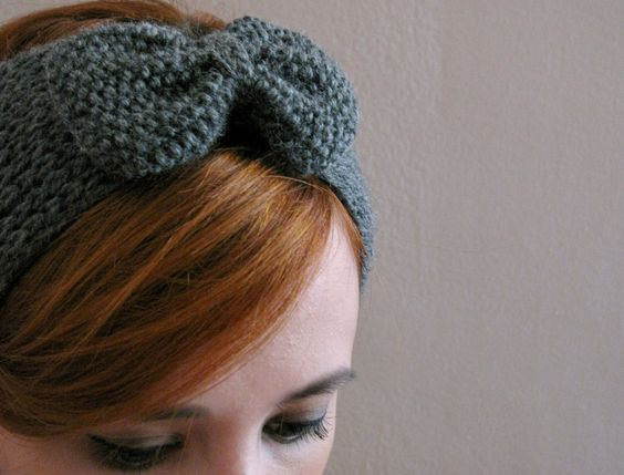Dark Grey Bow Knitted Headband