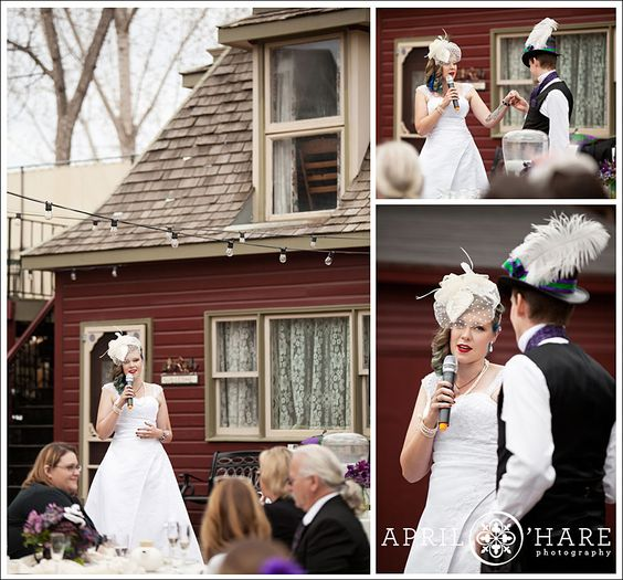 Here's a springtime wedding reception in the backyard of the McCreery House in Loveland Colorado.  You can see the cute matching carriage house behind the bride. - April O'Hare Photography #Colorado #ColoradoWedding #ColoradoWeddingPhoto #LovelandWedding #Loveland #LovelandWeddingPhoto #Steampunk #SteampunkWedding #Springwedding #McCreeryHouse