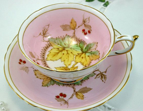 Special Edition Paragon Footed Teacup & Saucer Unique Maple