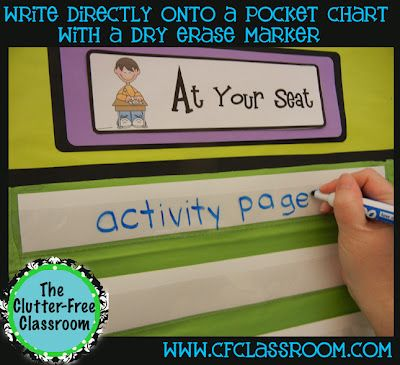 write directly on a pocket chart w/ dry erase marker!