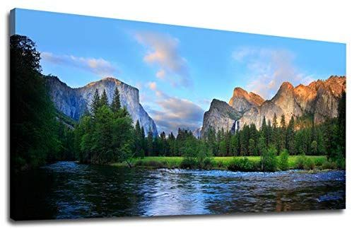 Amazon Com Canvas Wall Art Panorama Of Yosemite Valley Painting Canvas Artwork Lake Mountain National Park Na Canvas Artwork Colorado Wall Art Nature Pictures