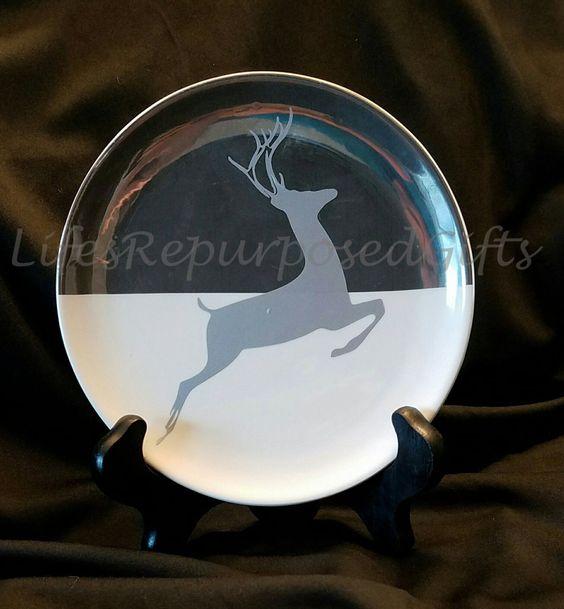 Silver Deer Decorative Plate. Reindeer / Holiday Plate by LifesRepurposedGifts on Etsy