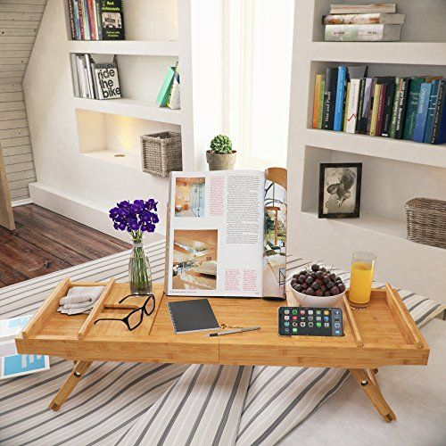 Free Soap Dish Bathtub Caddy Tray Bamboo Bathtub Tray with Tablet and Wine Holder Extendable Sides Nonslip Bottom Bath Organizer