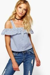 Tara Button Front Off The Shoulder Ruffle Top