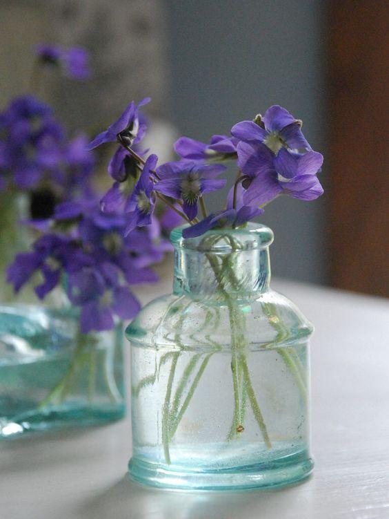 Violets in Vintage Inkwell