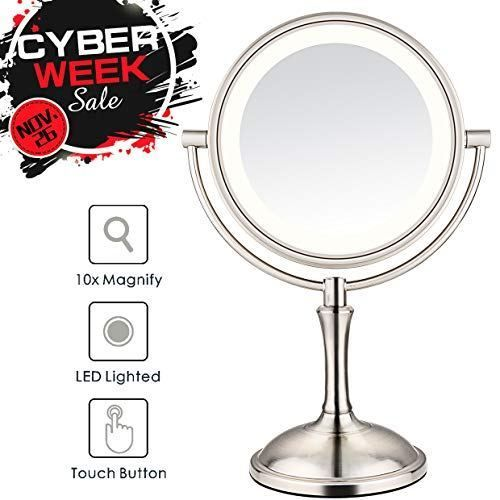 Amnoamno Led Makeup Mirror 10x Magnifying 7 8 Double Sided