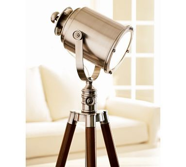 photographer's tripod floor lamp from pottery barn. it's really cool in person. pinning it for son's room.