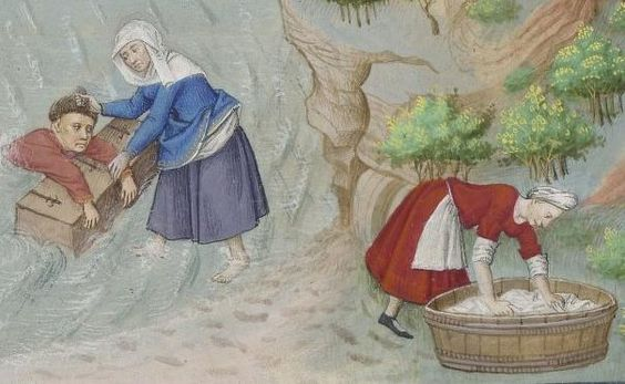 Laundry washing bin, apron, and a tucked skirt too!   Le livre appellé Decameron, 1401-1500